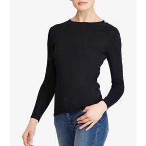 RALPH LAUREN Black Ribbed Crew Neck Sweater
